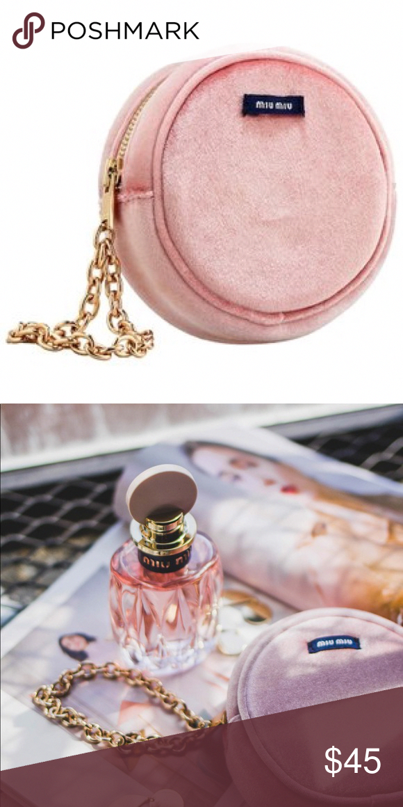 Miu Miu perfume pink velvet coin purse with chain Beautiful Miu Miu perfume  pink pouch, cosmetic bag, coin purse, wallet, new without tags. 3d02db0d9e