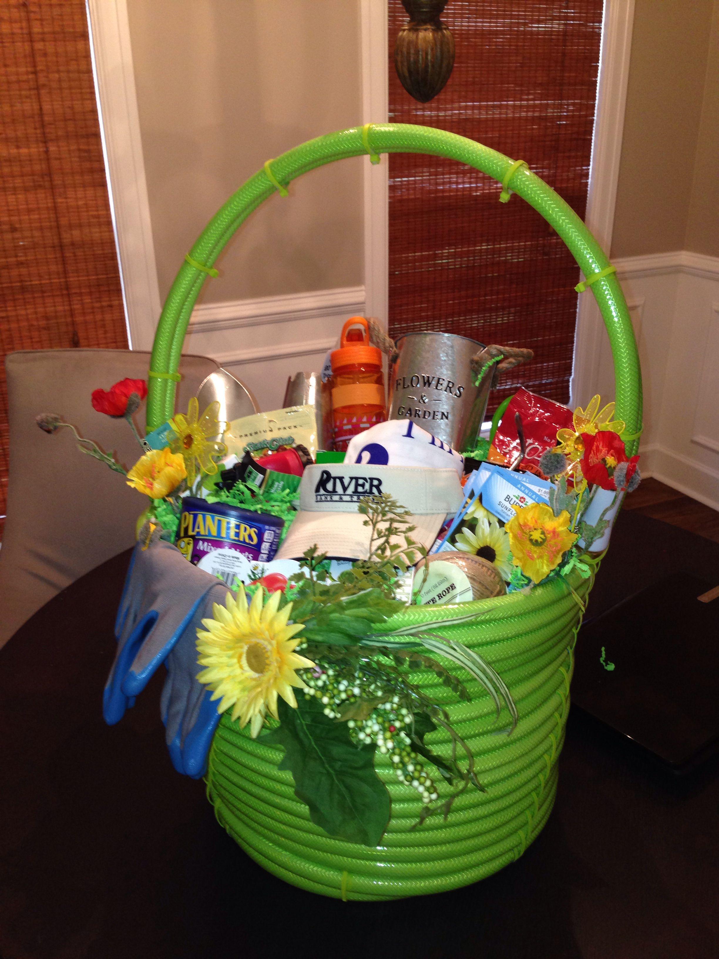 Garden Hose Gift Basket Gardening gift baskets, Garden