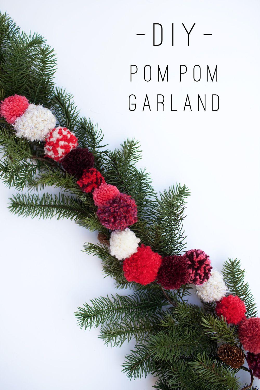 DIY Christmas Pom Pom Garland - tell love and chocolate