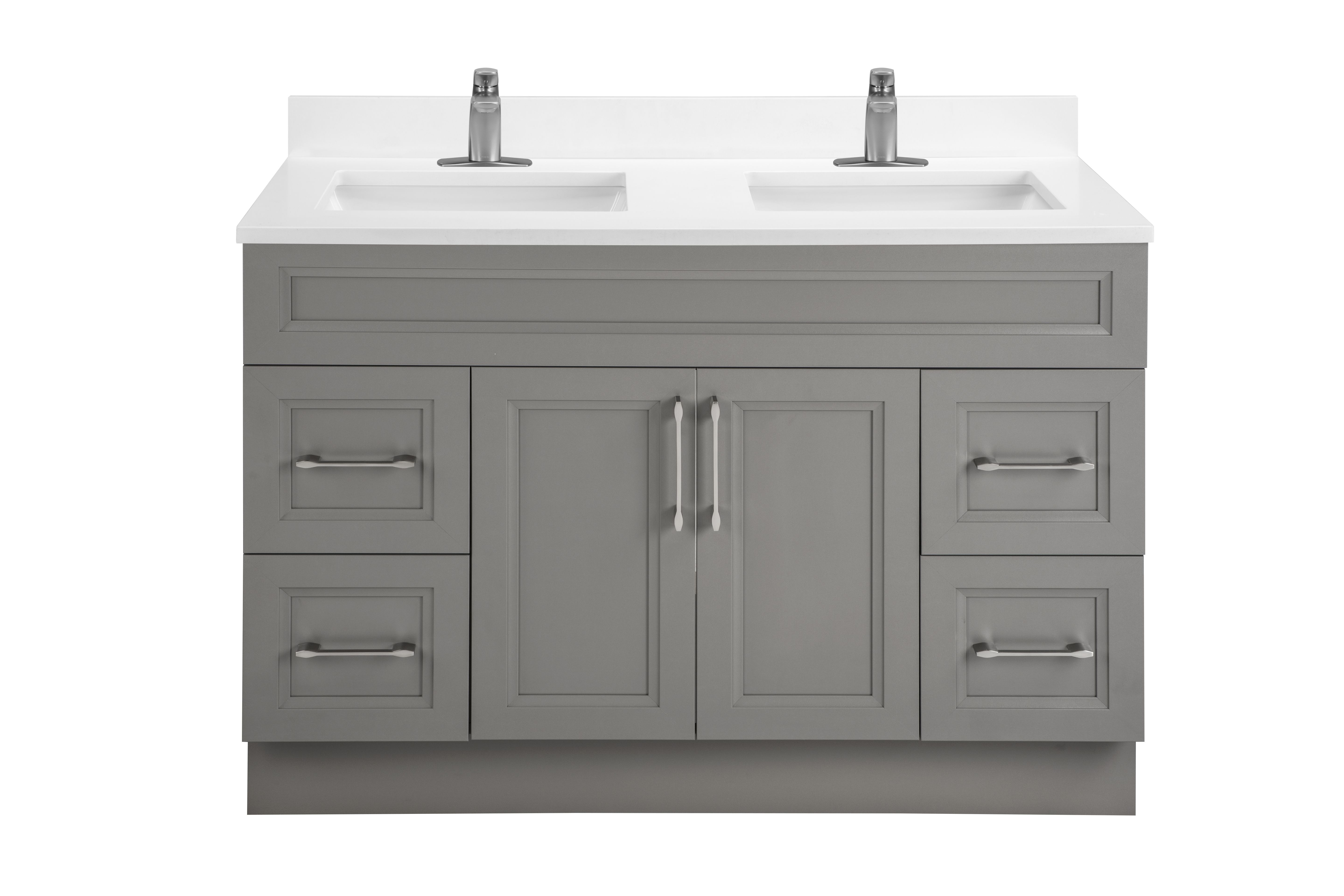 Classic Collection 48 Double Sink In Fossil Bevel Shaker Style Shown With White Quartz Also Available In Colours Bathroom Redesign Bathroom Vanity Vanity