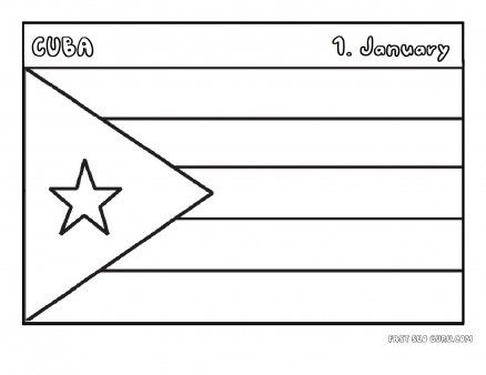 Printable flag of cuba coloring page - Printable Coloring Pages For