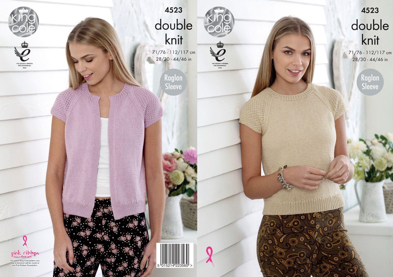 King Cole Ladies Double Knitting Pattern Womens Easy Knit Raglan Sleeve Top 4772