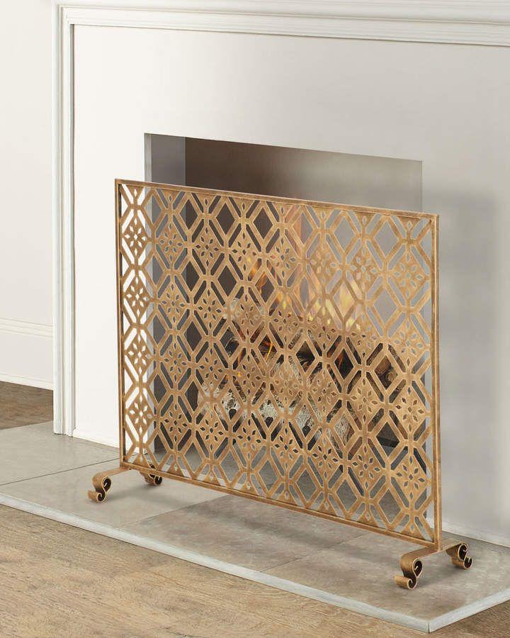 Diamond Tole Single Panel Fireplace Screen Fireplace Screens Decorative Fireplace Screens Classic Fireplace