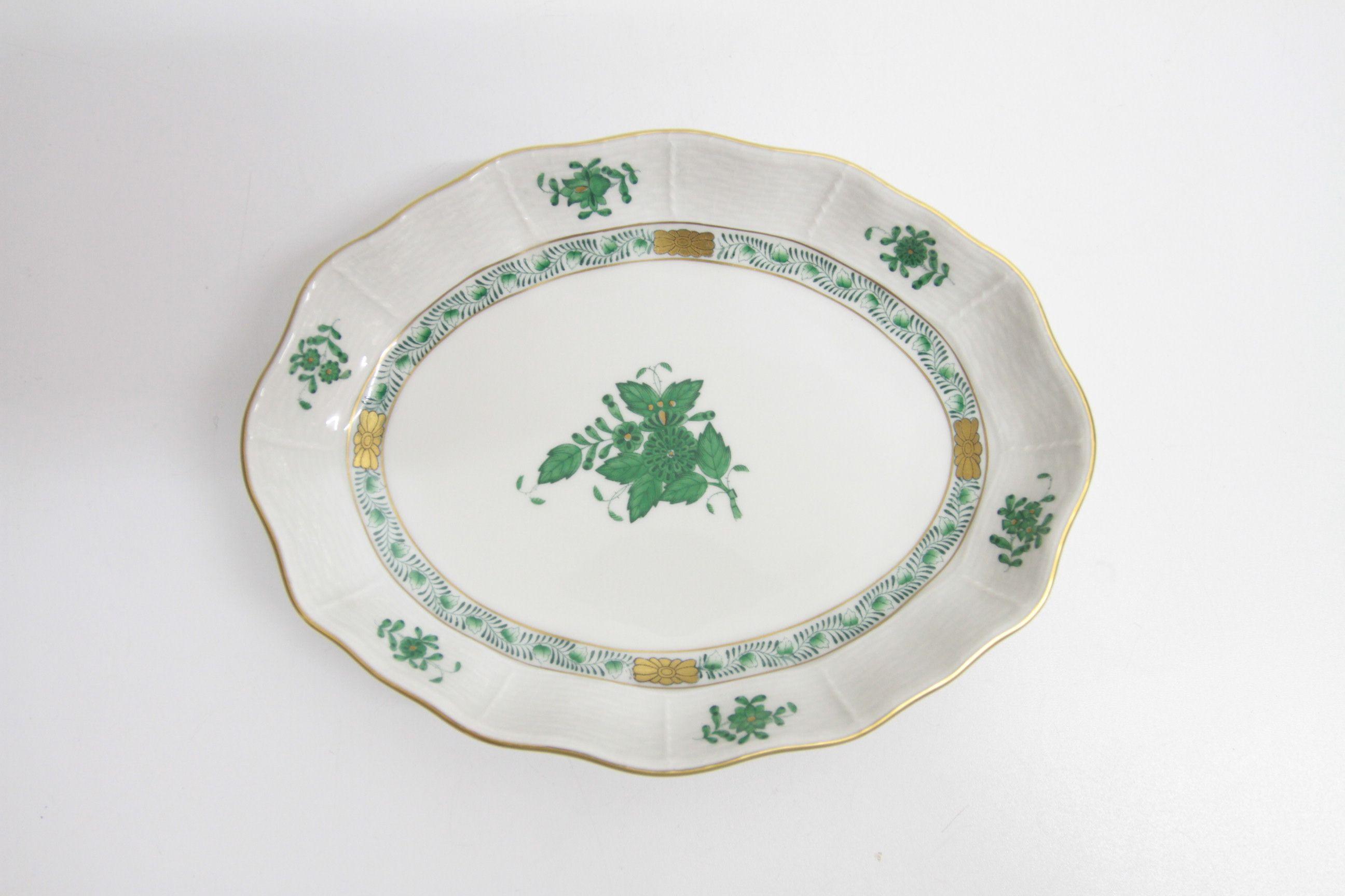 Schöne Porzellanschale der Marke Herend Ungarn Handpainted Farbe Grün /