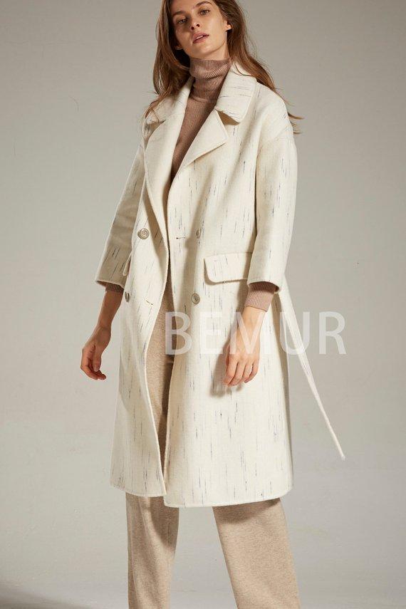 Off-white Wool Coat Dress with Belt Long Winter Pea Coat Women Drop  Shoulder Lapel Outwear Long Slee 8b552af419