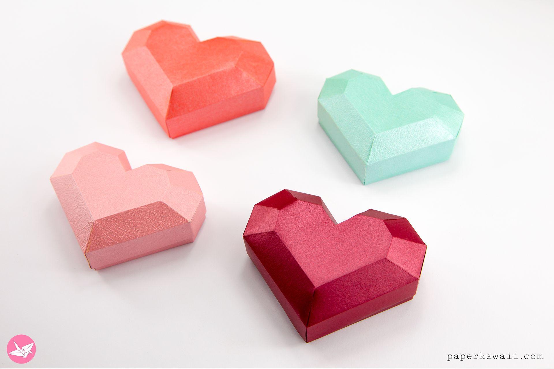 Paper Heart Box Tutorial Paper Kawaii Heart Box Gift Box Template Origami Box Tutorial