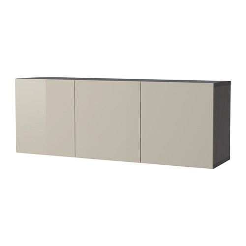 Ikea BestÅ Wall Mounted Cabinet Combination Black Brown Selsviken High Gloss Beige