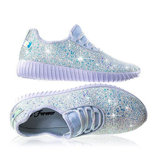 f83473004582 Forever Link Women s REMY-18 Glitter Fashion Sneakers Whi... https