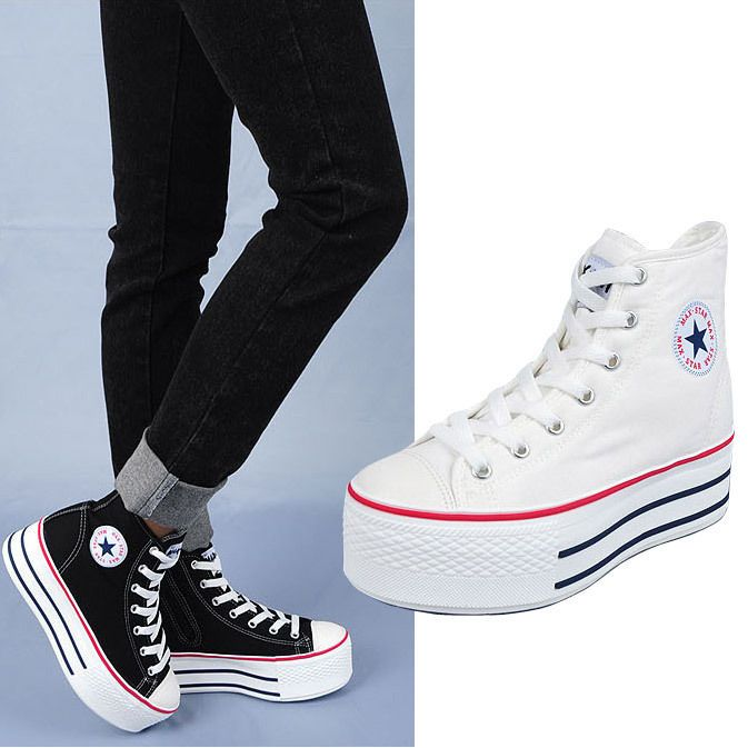 converse ladies hi platform trainers