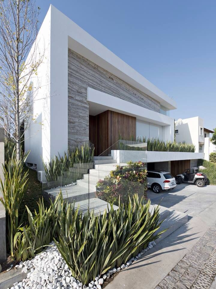 Love The Grey Stone Against The White Modern House Facades