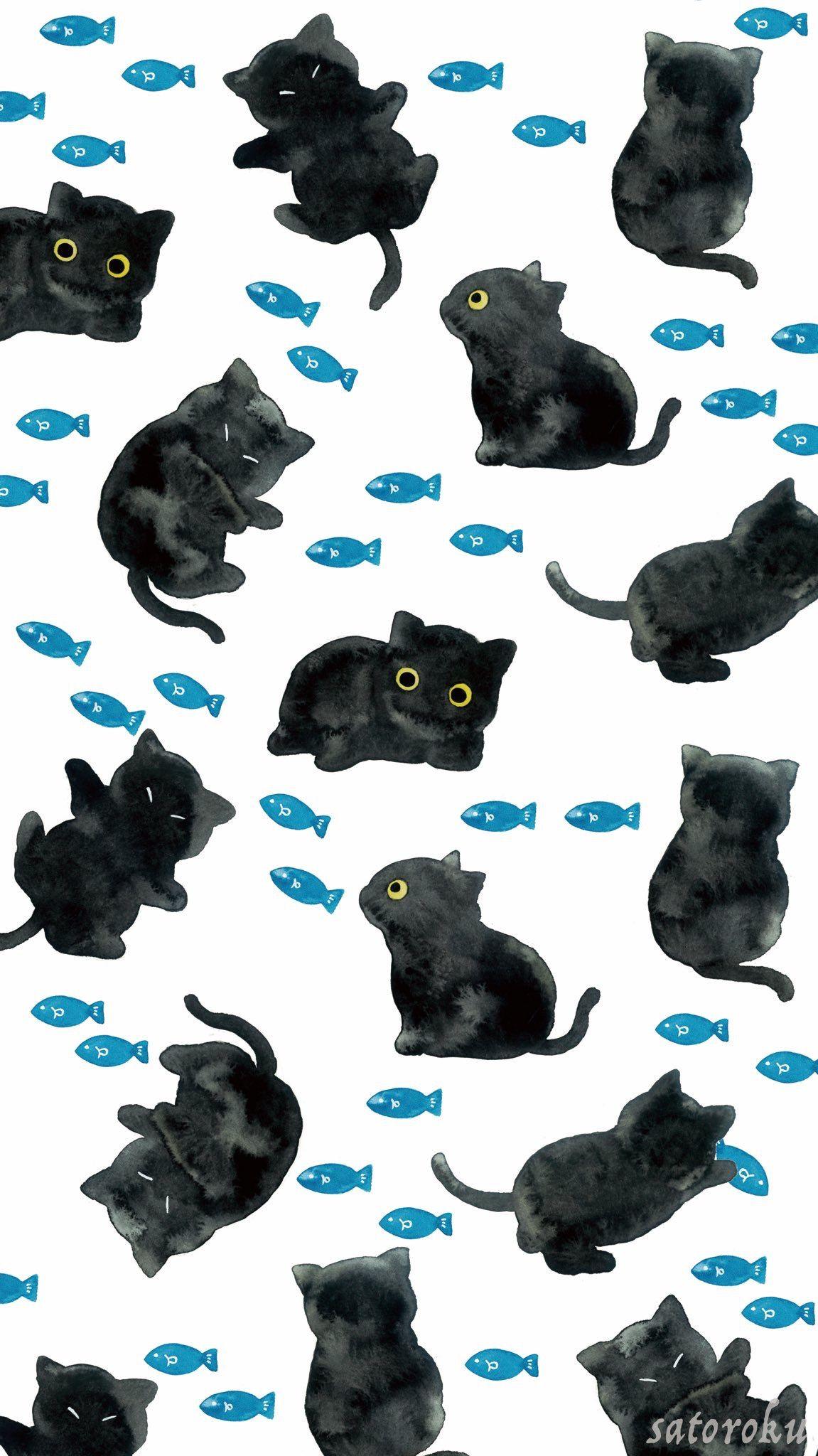 Black Kitty Black Cat Drawing Cat Illustration Cat Drawing