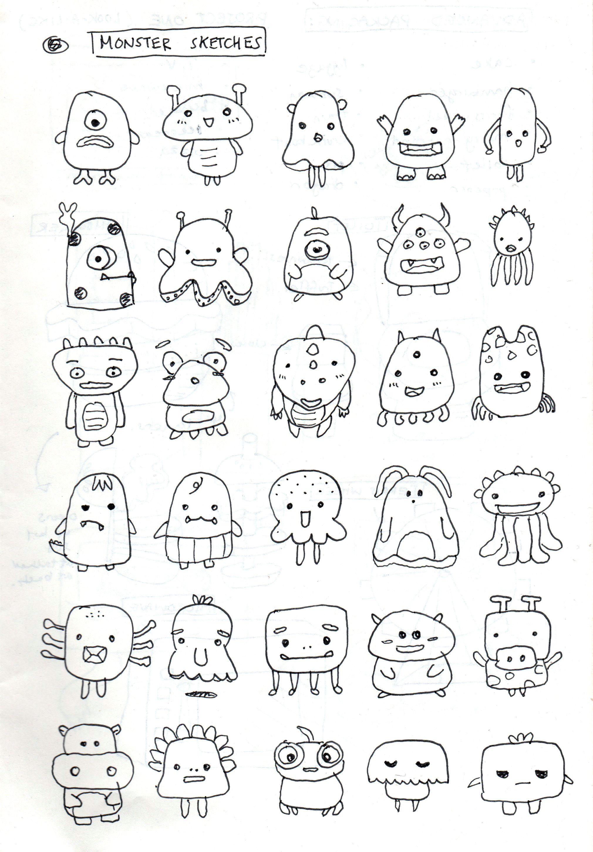 Simple Monster Drawing : simple, monster, drawing, Brainstorm, Doodle, Designs,