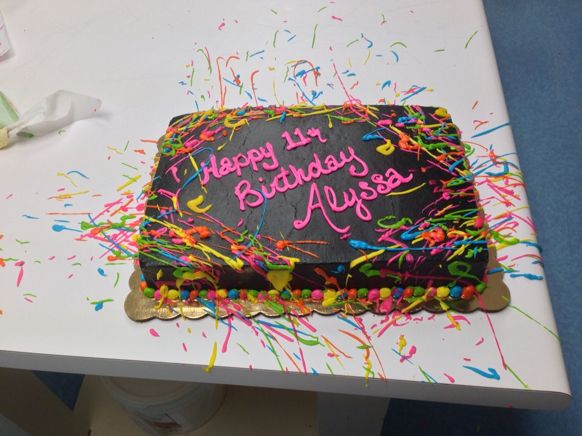 Excellent Buttercream Paint Splatter Cake With Images Glow Birthday Personalised Birthday Cards Sponlily Jamesorg