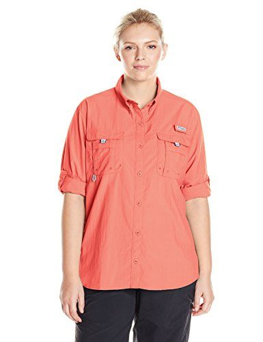 d09d93893ba Columbia Sportswear Womens Bahama Long Sleeve Shirt PlusSize Hot Coral 1X     You can get