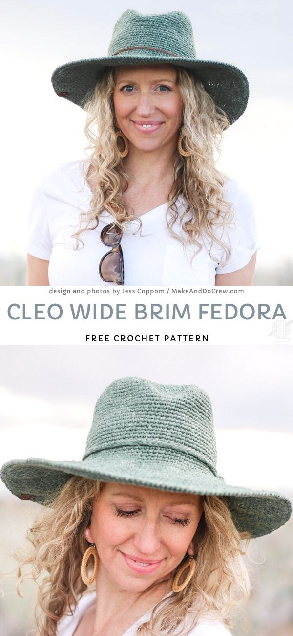 Lovely Feminine Crochet Sunhats. I love this amazing hat and I will definitely try it out. I hope you'll too! It's a great alternative for a beanie or a hat and it is very flattering and feminine as well! Be sure to have at least one hat in your closet!  #freecrochetpattern #fedora #hat