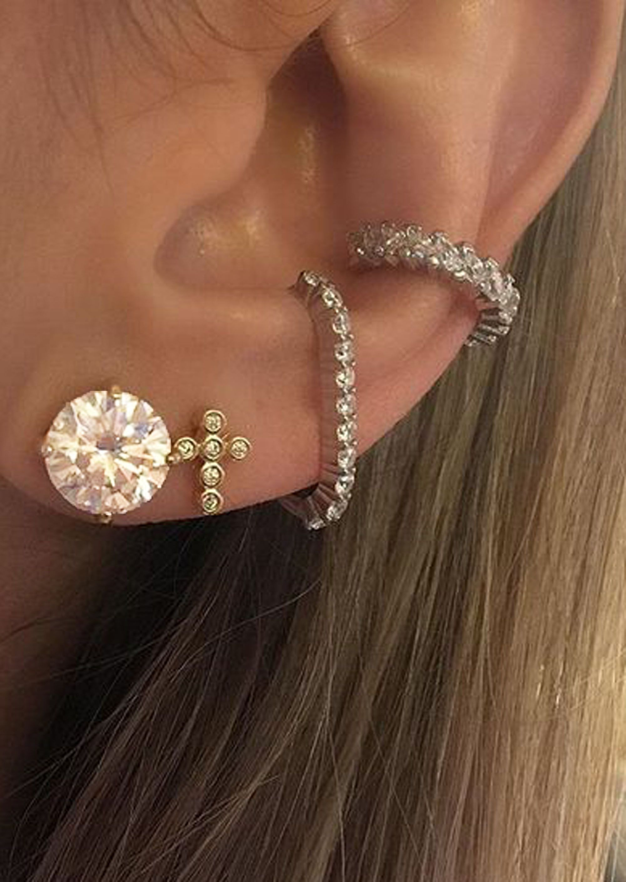 4PCS//Set Women Bohemia Silver Plated Earrings Ear Clip Stud Earrings Jewelry R