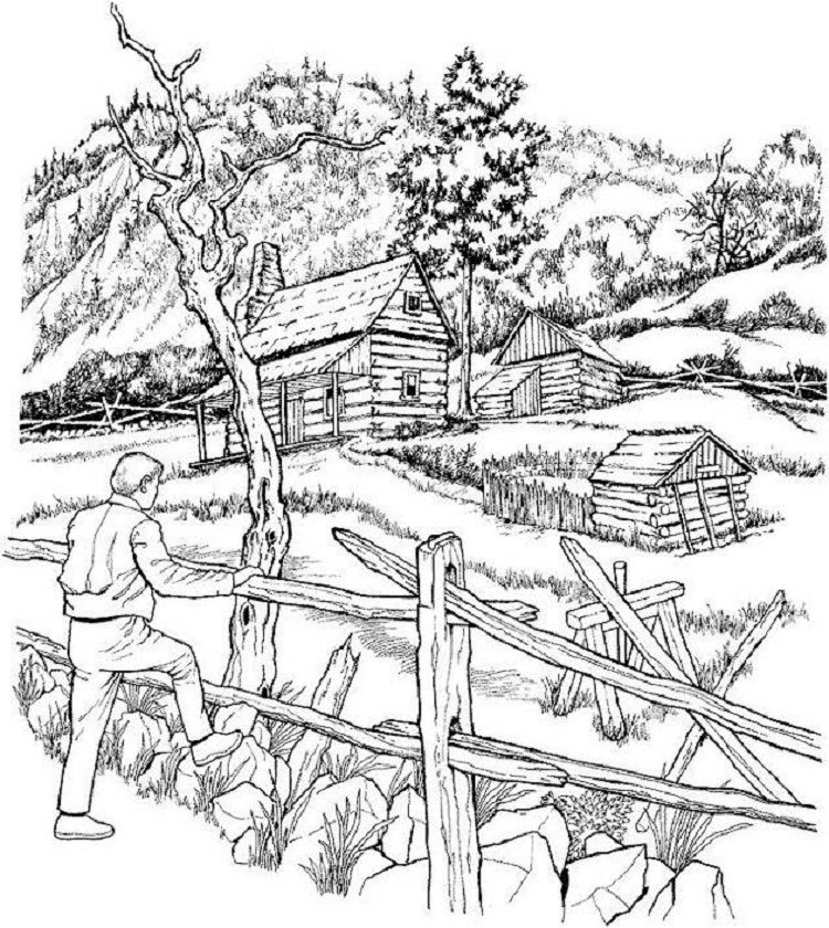 Detailed Landscape Coloring Pages Fall Coloring Pages Adult