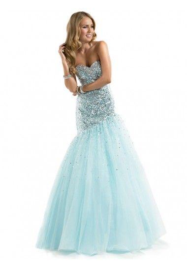 Trumpet/Mermaid Sweetheart Sleeveless Tulle Light Sky Blue Prom ...