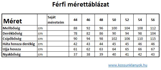 1d8fb060cb Férfi mérettáblázat | Egyéb | Periodic Table és Diagram