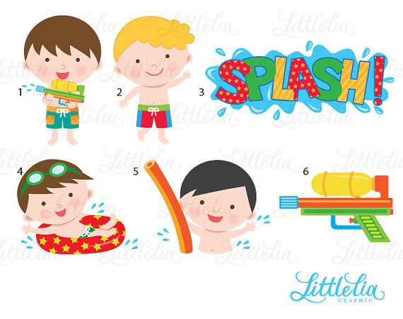 Xanten Zwembad Boy Pool Party Clipart - Pool Party Clipart - Summer