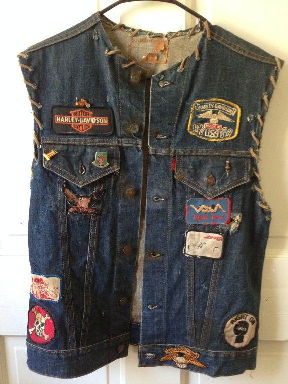 Original Vintage 1950s 1960s Levis The Big E Denim Jacket Vest Biker Harley Davidson Usa Denim Jacket Biker Denim Denim