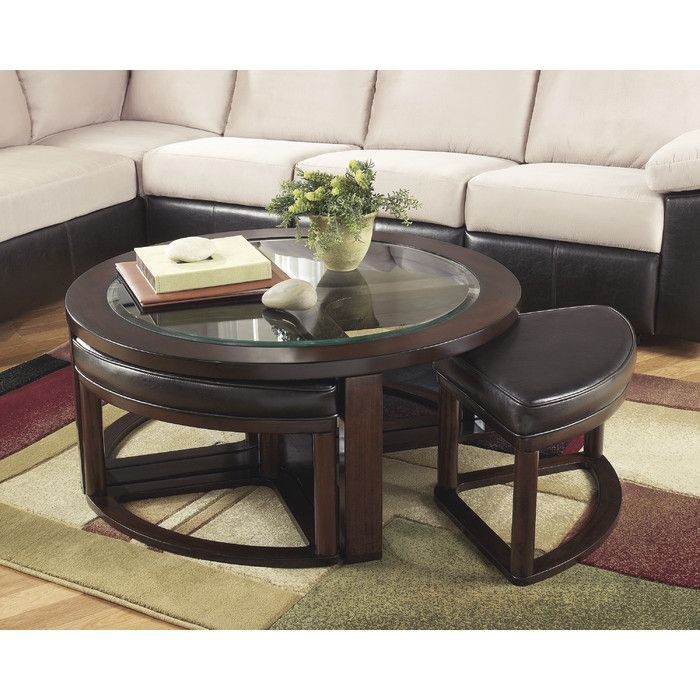 Eastin Coffee Table With Nested Stools Coffee Table With Stools Coffee Table Coffee Table Wood