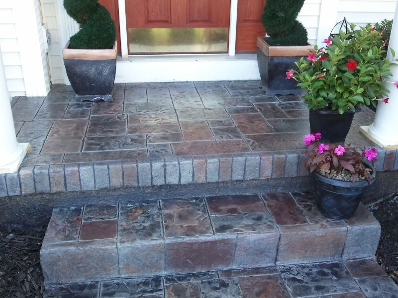 stamped overlay concrete colorized front porch steps concrete