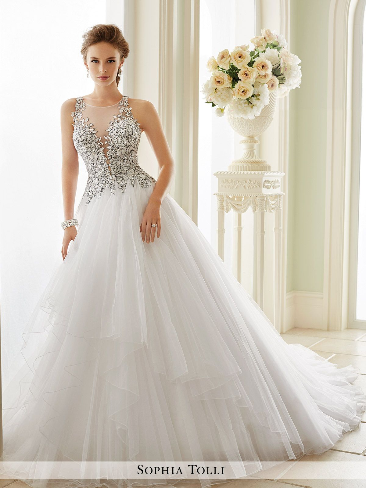 Sophia Tolli - Y21655 Dolce Vita - Sleeveless misty tulle ball gown with  slender illusion lace straps 127769a431bb