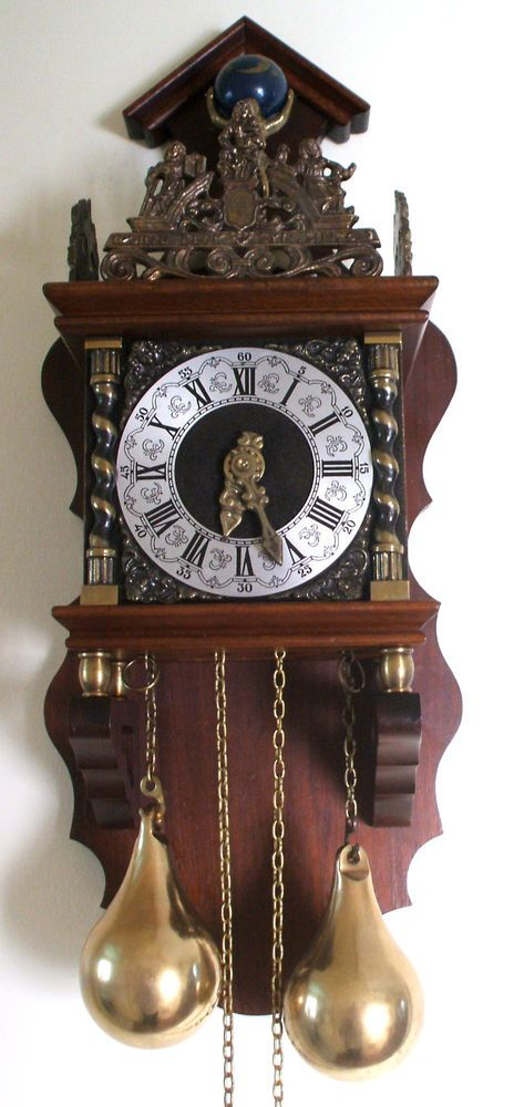 Dutch Zaandam Decorative Mahogany Case 2 Weights Driven Striking Wall Clock Gwo Clock Antique Clocks Wall Clock