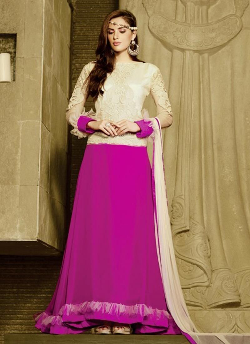Lavish hot pink embroidered work anarkali salwar kameez the girly