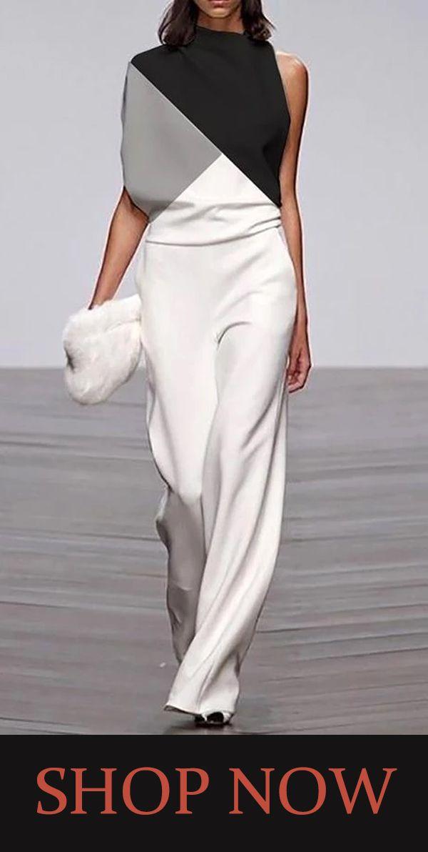 【US$34.99】Women's Modern Sleeveless Coloring Loose Jumpsuit #jumpsuits #designerjumpsuits #stylishlook #f1