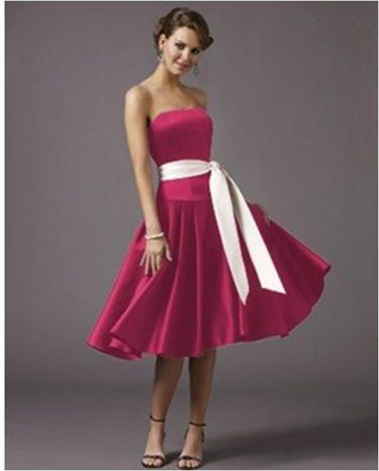 Bridesmaid dresses. Hot pink dress, but with black sash. | Wedding ...