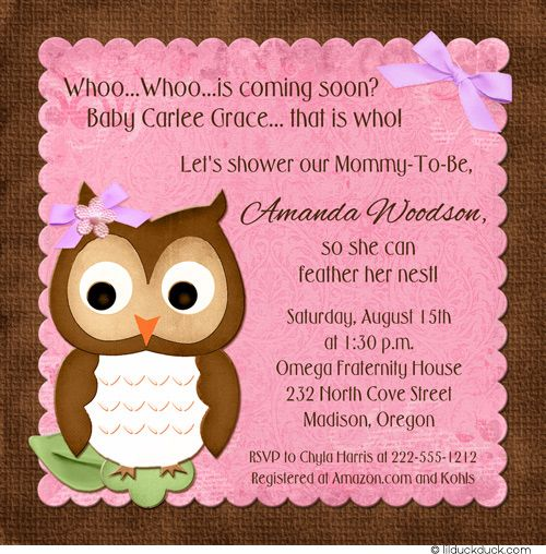 Lovable Owl Baby Shower Invitation