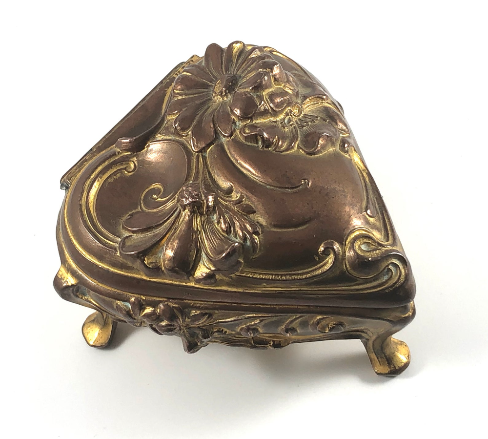 Art Nouveau Brass Jewelry Box 24k Gold Plated Jewelry Casket Unique Vintage Gift Jewelry Plate Jewelry Casket Brass Jewelry