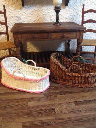 Dollhouse Miniature Wicker Irish Moses Basket Handwoven