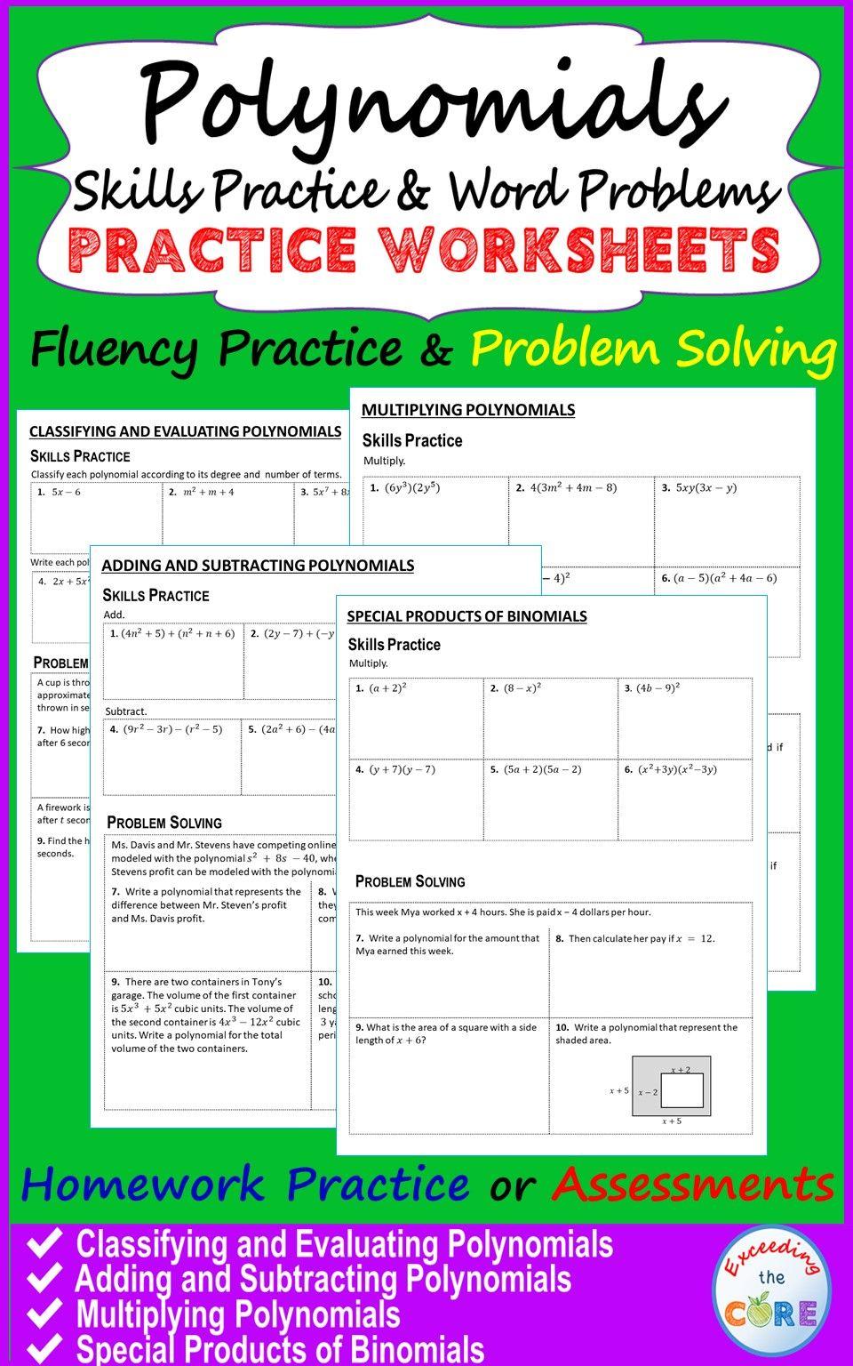 POLYNOMIALS Homework Worksheets Skills Practice & Word