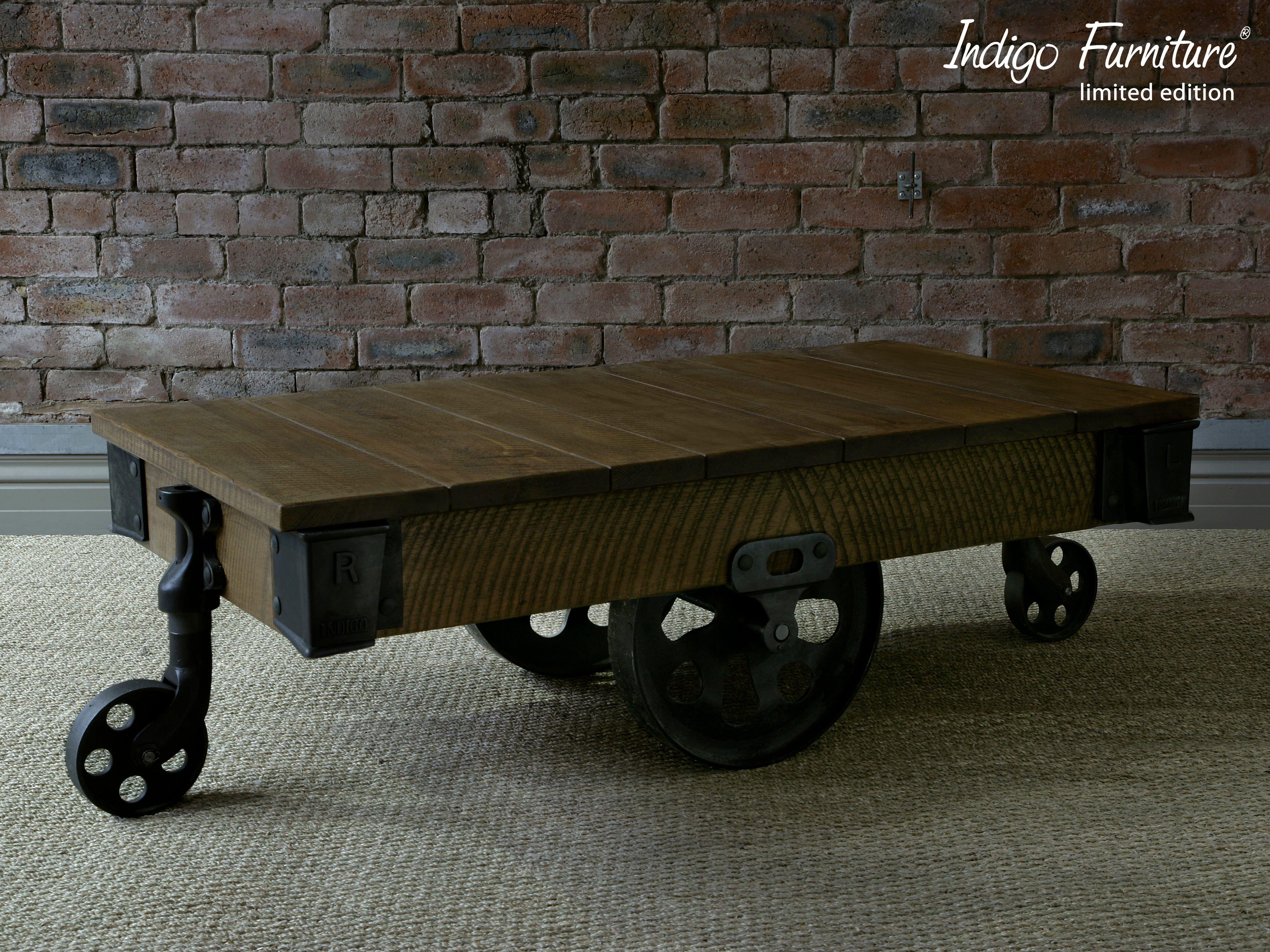Reclaimed Mill Cart Coffee Table Indigo Furniture Coffee Table Wood Coffee Table Rustic