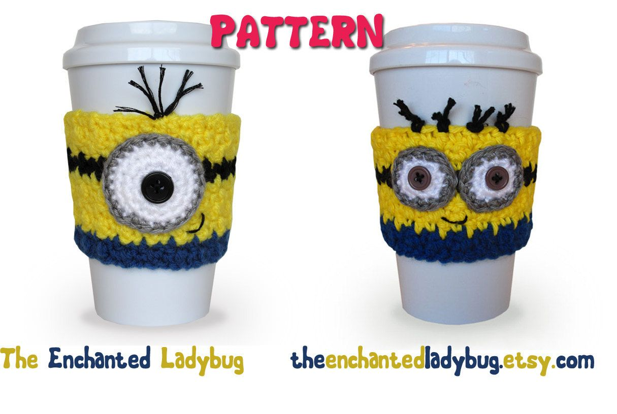 PDF PATTERN Crochet Minion Coffee Cup por TheEnchantedLadybug, $4,95 ...