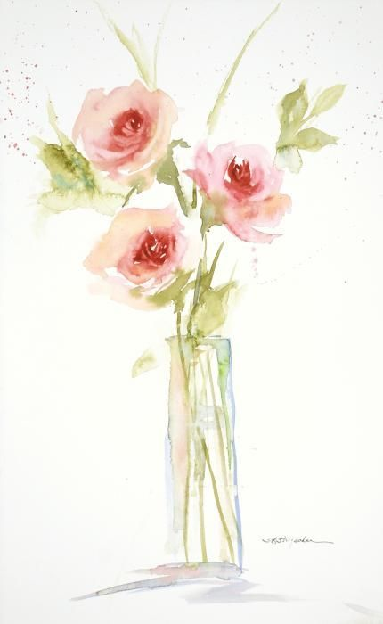 Three Roses In A Glass Vase Transparent Watercolor By Sandra L