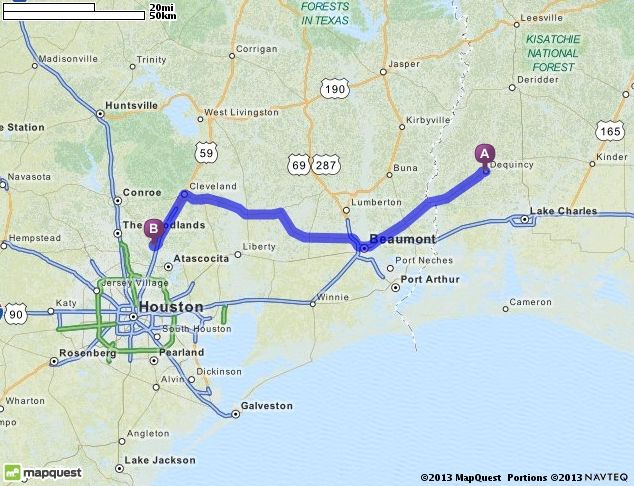 Driving Directions From De Quincy Louisiana To E Terrace Dr - Mapquest driving directions texas