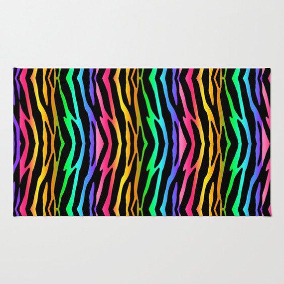 Rainbow Zebra Prints Area Rug For Girlu0027s Safari Jungle Animal Print Bedroom.  Add Matching Duvet