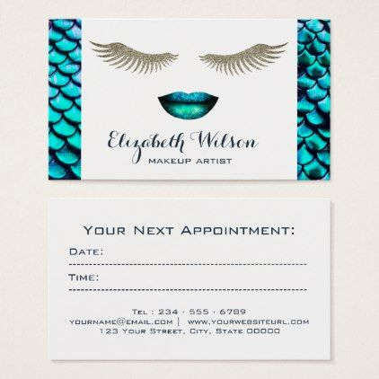 mermaid makeup artist appointment card  zazzle