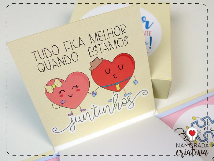 Diy Caixa Explosiva Ilustrada Amor Declarado Ela é Montagens E