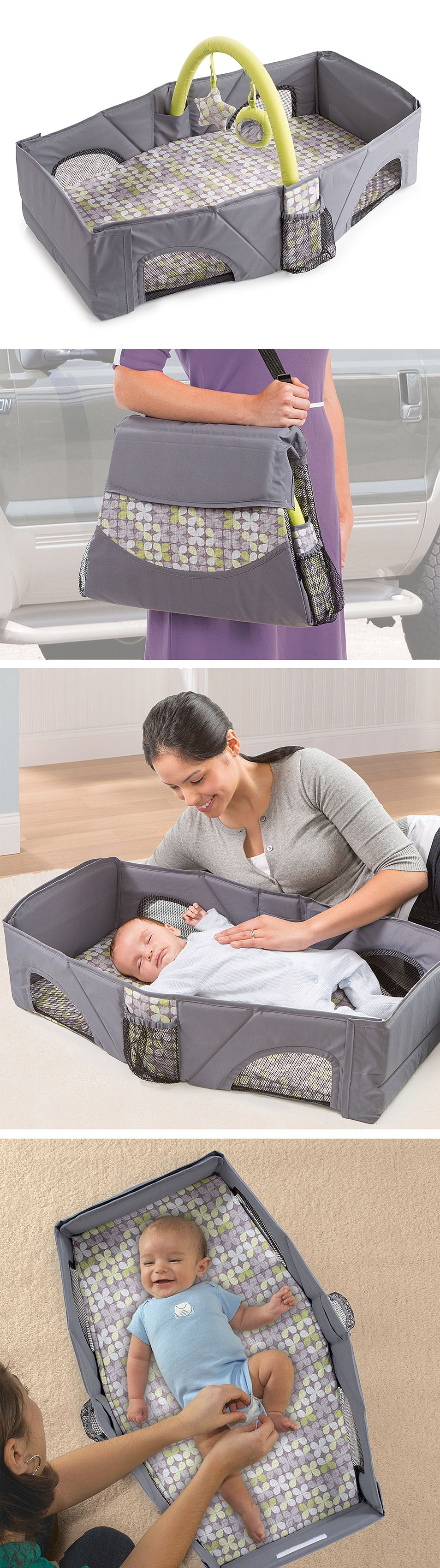 folding travel crib bed diaper play station folds up to the