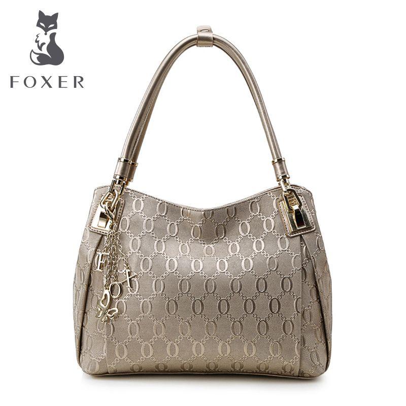 Foxer merk ontwerp vrouwen lederen handtas tas lady chain lijnen schouder & crossbody tassen