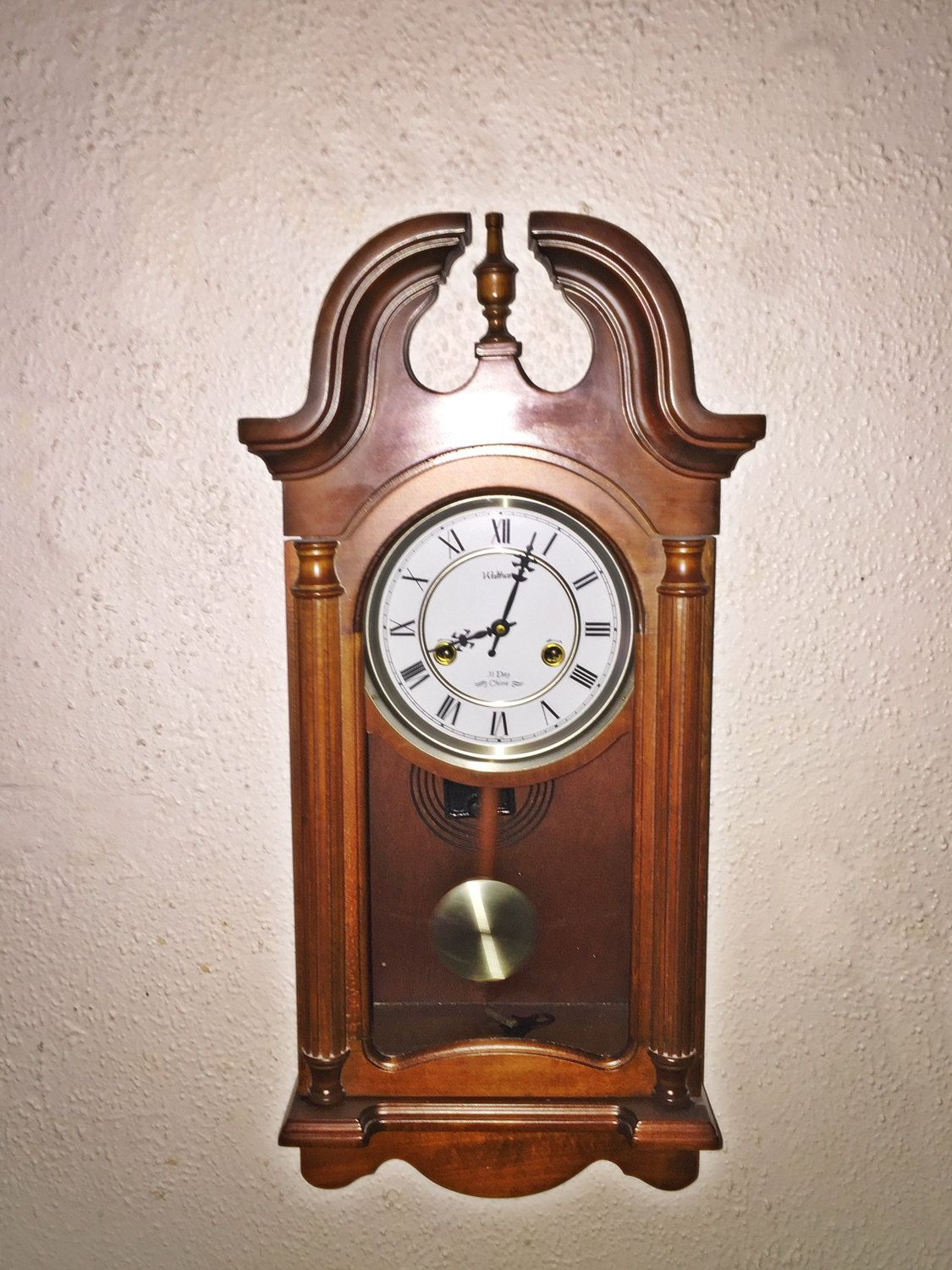 Vintage Waltham Wall Hanging Penulum Clock Roman Numerals 31 Day
