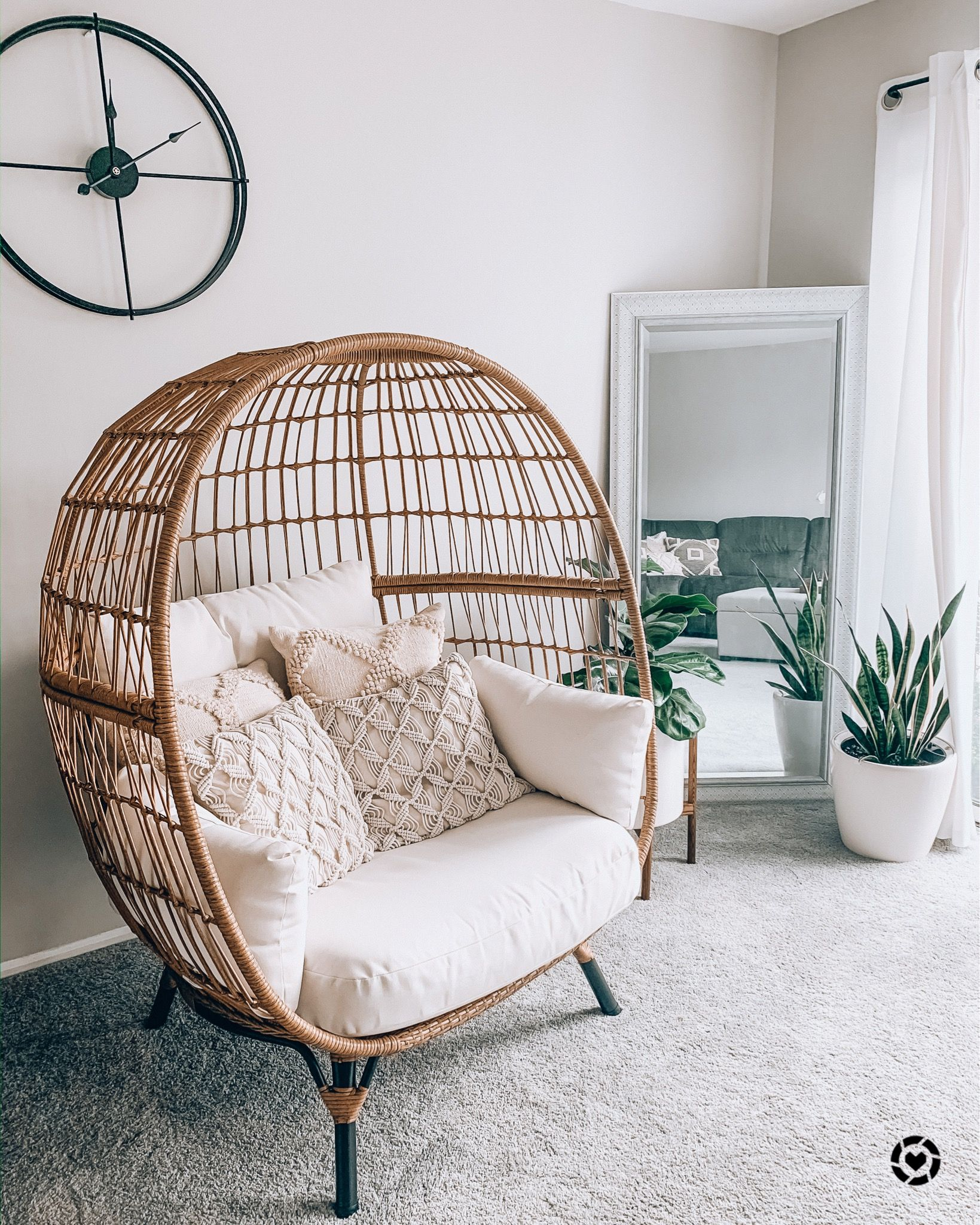 Living Room Egg Chair Liketoknow It In 2020 Hanging Chair Living Room Guest Bedroom Office Modern Boho Living Room