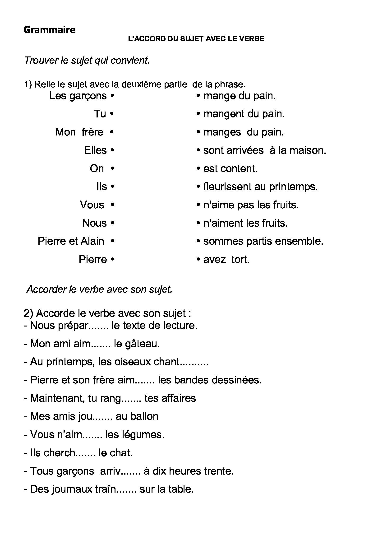 Accord du verbe avec son sujet,exercices,ce2,cm1,cm2,leçons | Exercice ce2, Cm2, Ce2