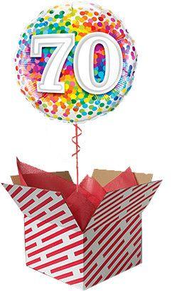 Rainbow Confetti 70th Birthday Balloon Gift