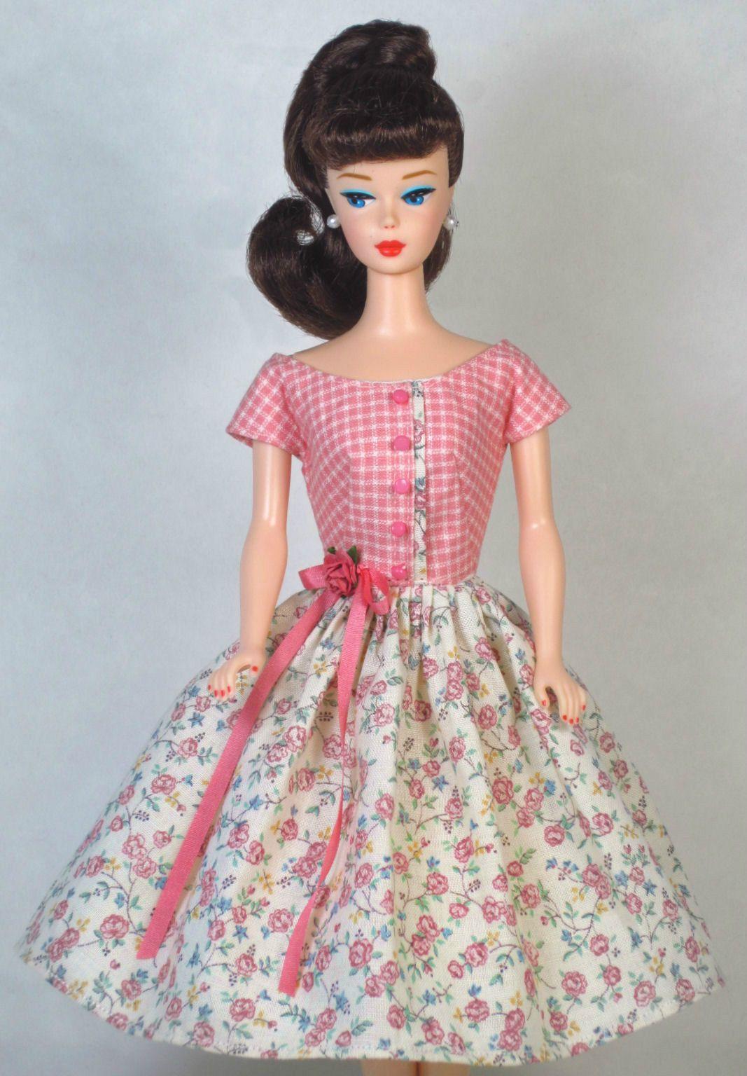 Sweet Floral Vintage Barbie Doll Dress Barbie Clothes Fashion Zipper Barbie Dress Barbie Clothes Doll Dress